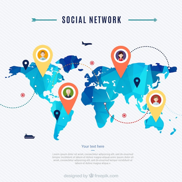 Social network map vector free download social network map free vector gumiabroncs Gallery