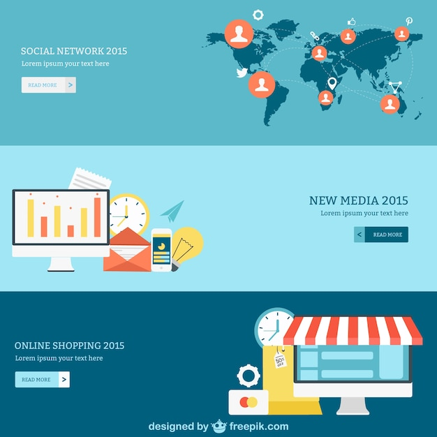 Social network, media and online shopping banners Vector | Free ...