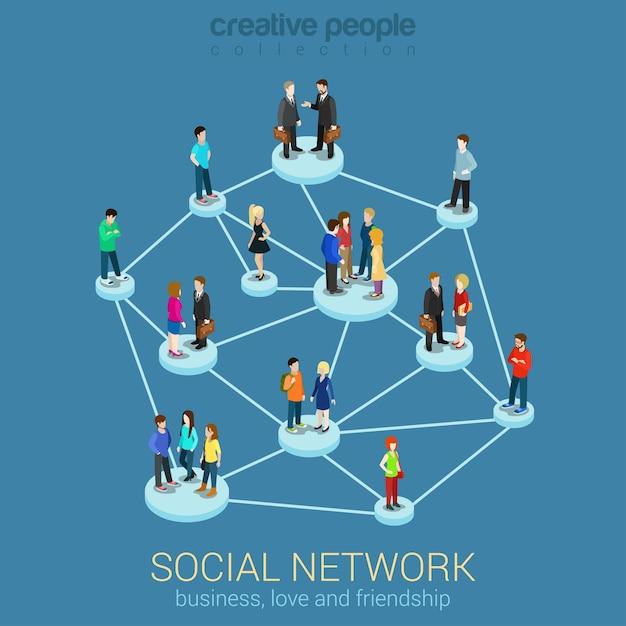 Social network media global people communication information sharing Free Vector