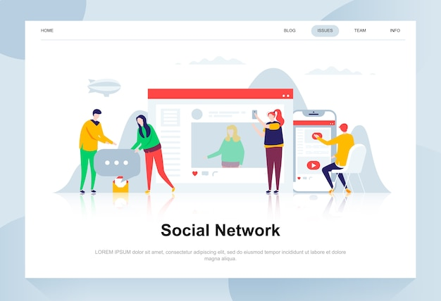 Social network modern flat design concept. Premium Vector