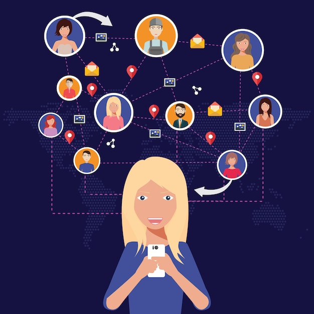 Social network, people connecting all over the world Premium Vector
