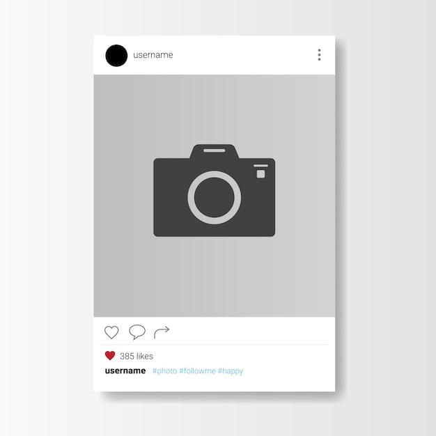 Social network photo frame on white background Premium Vector