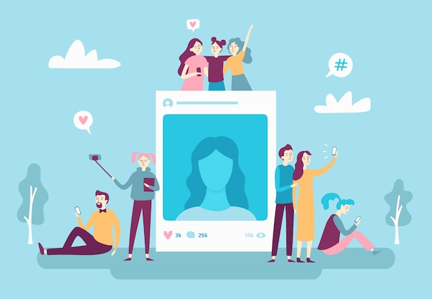 Social network photo post. youngsters people posting selfie phot Premium Vector