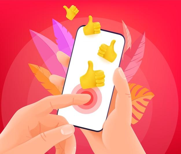 Реакция соцсети через смартфон Premium векторы