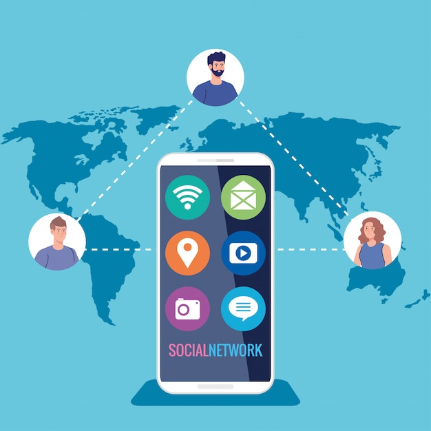 Social network, smartphone and people connected for digital, interactive, communication and global concept Premium Vector