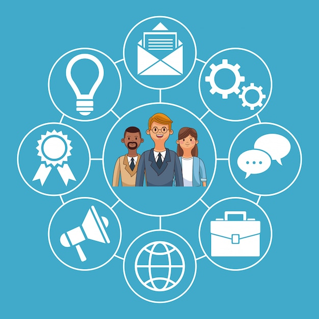 Social Network Symbols And Business People Cartoons Vector Premium
