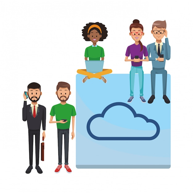 Social network technology Premium Vector