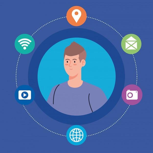 Социальная сеть, молодой человек и значки социальных сетей, концепция глобальной коммуникации Premium векторы
