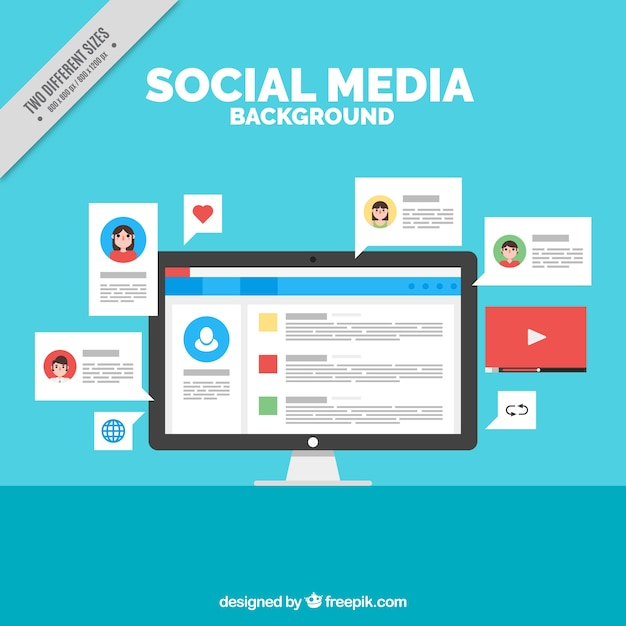 Social networking background with a computer Free Vector