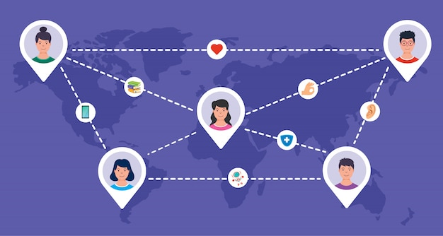 Social networking and connection between people Premium Vector