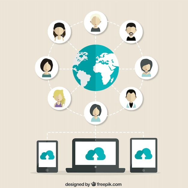 Social networking people Free Vector