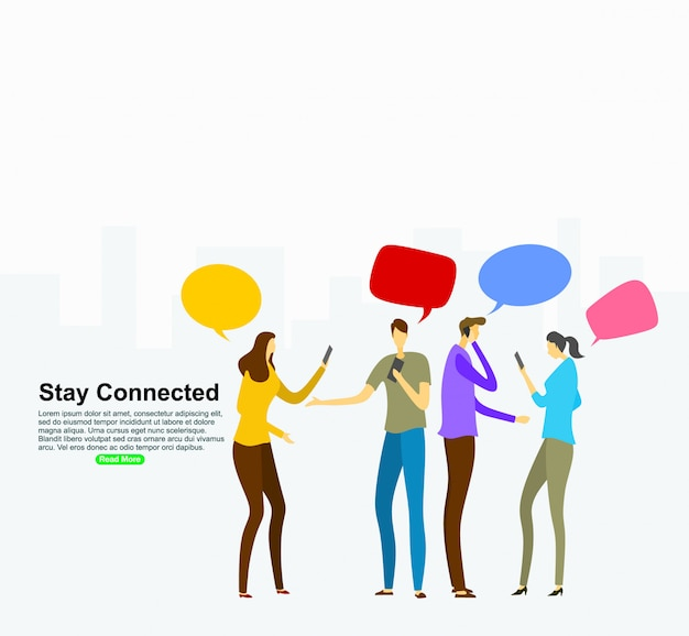 Social networking virtual relationships concept. background template Premium Vector