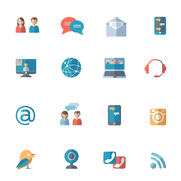 Social networks icons set Free Vector