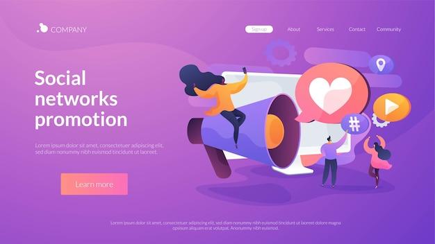 Modello di pagina di destinazione della promozione dei social network Vettore gratuito