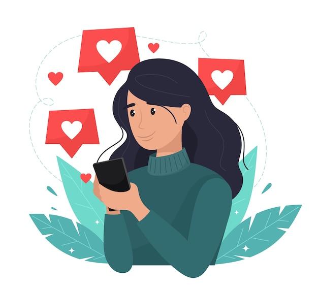 소셜 네트워크, 홍보, Smm 개념. 휴대 전화와 함께 행복 한 소녀는 좋아합니다. 플랫 스타일. 프리미엄 벡터