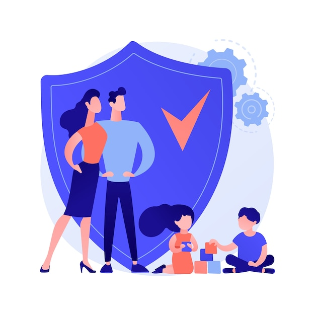 Social security abstract concept vector illustration. social security benefit, state allowance, retirement insurance, happy disabled person, old, elderly couple, sign agreement abstract metaphor. Free Vector