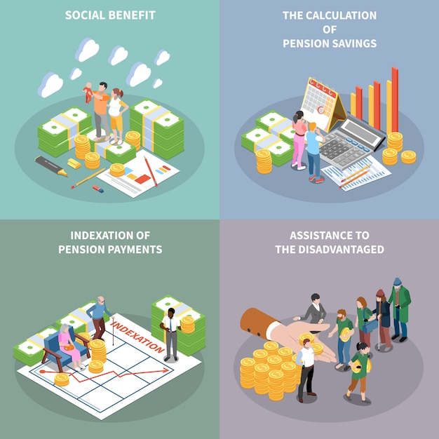 Social security benefits isometric cards set Free Vector