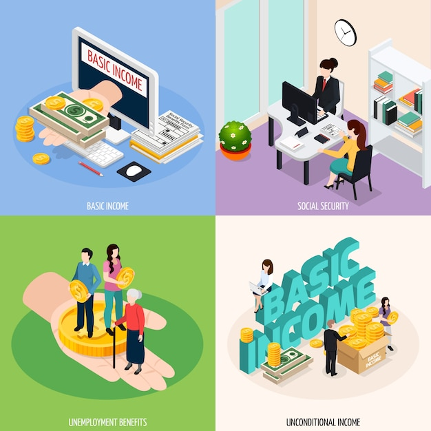 Social security concept illustration set Free Vector