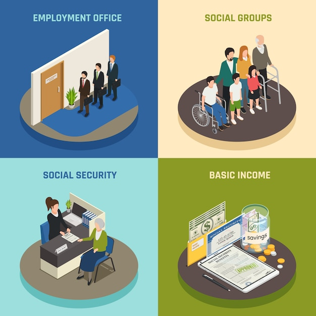 Social security isometric design concept Free Vector