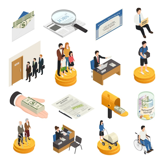 Social security isometric icons Free Vector