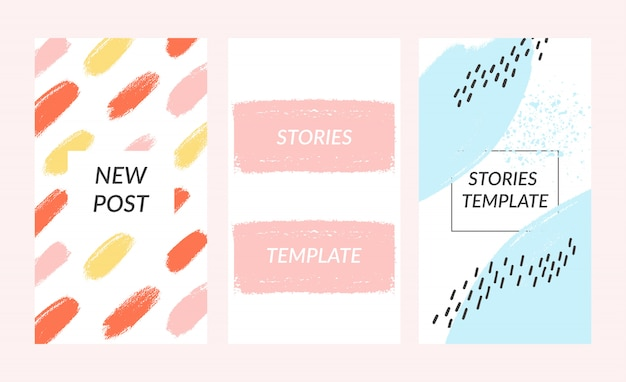 Social stories template. editable torn paper design. lifestyle concept. Premium Vector