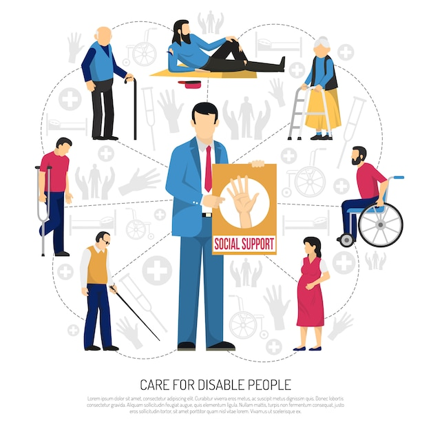 Social support for disabled people composition Free Vector