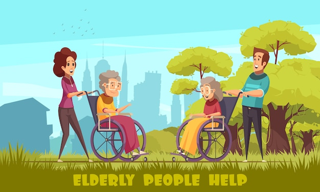 ソーシャルワーカーの保育園のホームボランティアが高齢者を連れて車椅子の屋外フラット漫画の人々を無効にします。 無料ベクター
