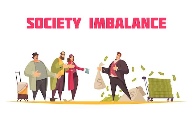 社会はフラットな漫画の水平構成のバランスを崩し、金持ちは袋のドルと貧しい乞食を抱えている 無料ベクター