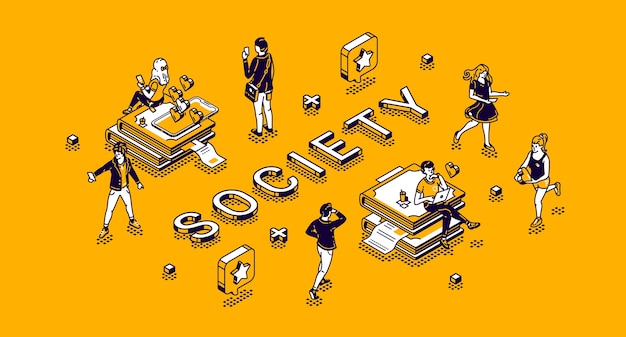 Society isometric concept with tiny characters living routine. people using gadgets, engage sports activity, communicate in internet networks, studying and working 3d line art illustration Free Vector
