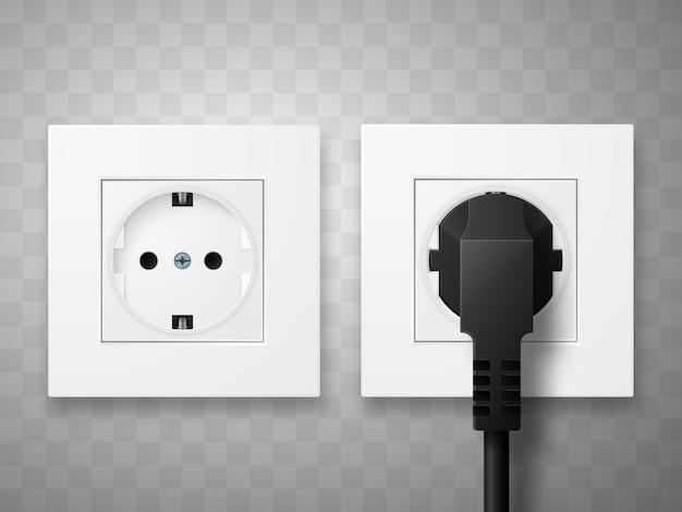 Socket and plug inserted in electrical outlet isolated. Premium Vector
