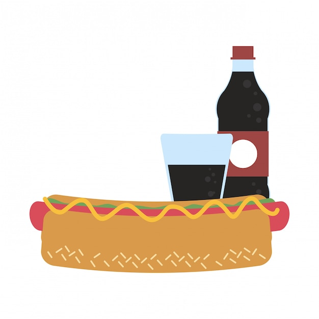 Soda bottle and cup with hot dog Premium Vector