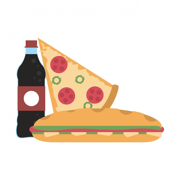 Soda bottle and pizza with sandwich Premium Vector
