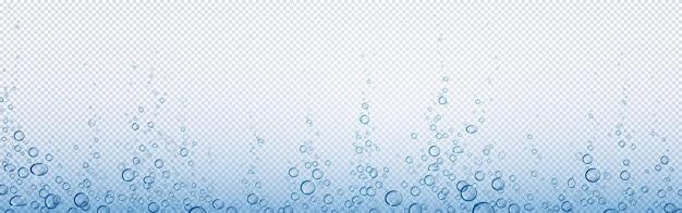 ソーダの泡、水または酸素の空気のフィズ、炭酸飲料、水中の要約。 無料ベクター