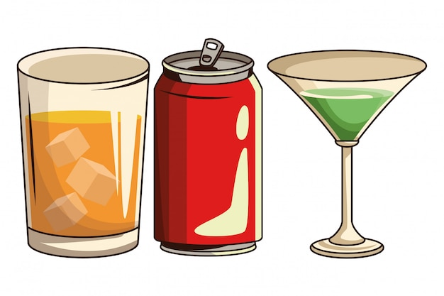 Soda can and cocktail Premium Vector