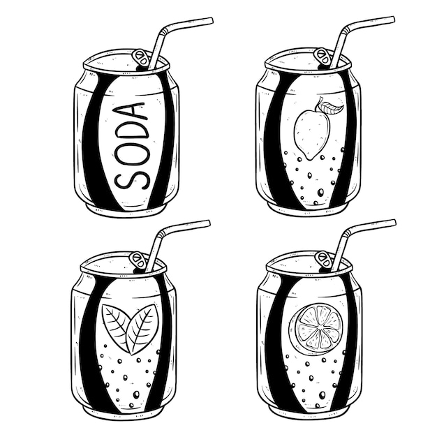 Soda can with lemon and orange flavour using hand drawn style Premium Vector