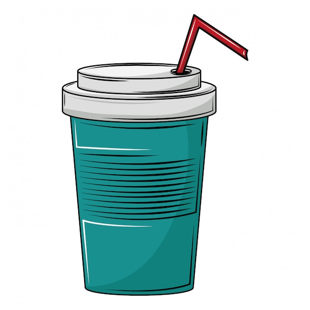 Soda cup with straw Premium Vector