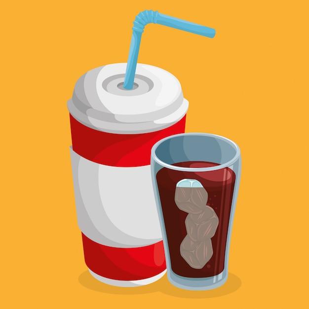 Soda cups drink Free Vector