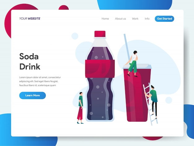Soda drink banner for landing page Premium Vector
