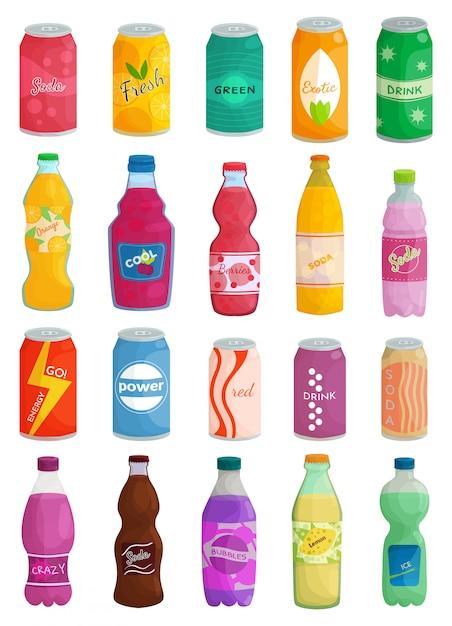 ソーダ飲み物分離漫画セットアイコン。漫画セットアイコンボトル飲料。白い背景のイラストソーダ飲み物。 Premiumベクター