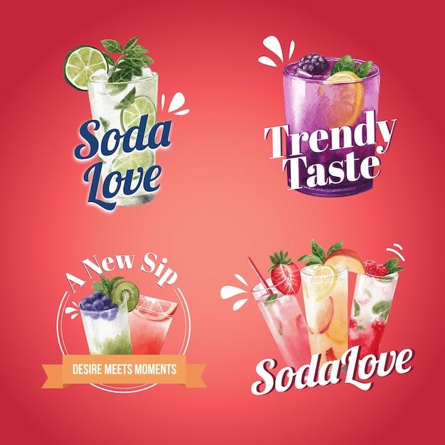 Содовый напиток дизайн логотипа акварель иллюстрация Premium векторы