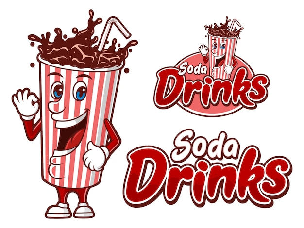 Soda drink in a paper cup, logo template with funny character Premium Vector