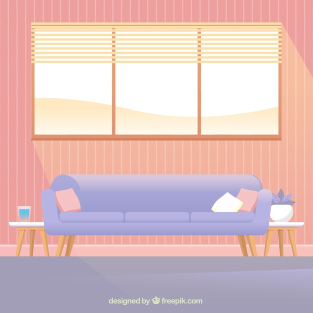 Sofa and window in house interior Free Vector
