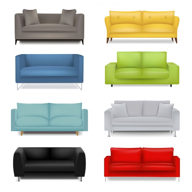 Sofa big set isolated Premium Vector