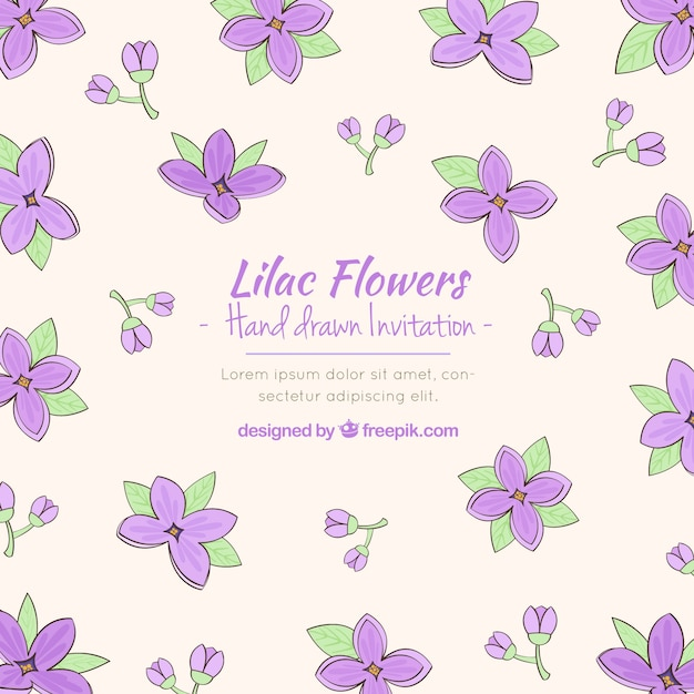 Sofisticated invitation with lilac flowers Free Vector