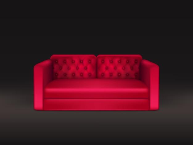 Мягкий и удобный диван классического дизайна с обивкой из красной кожи или ткани Бесплатные векторы