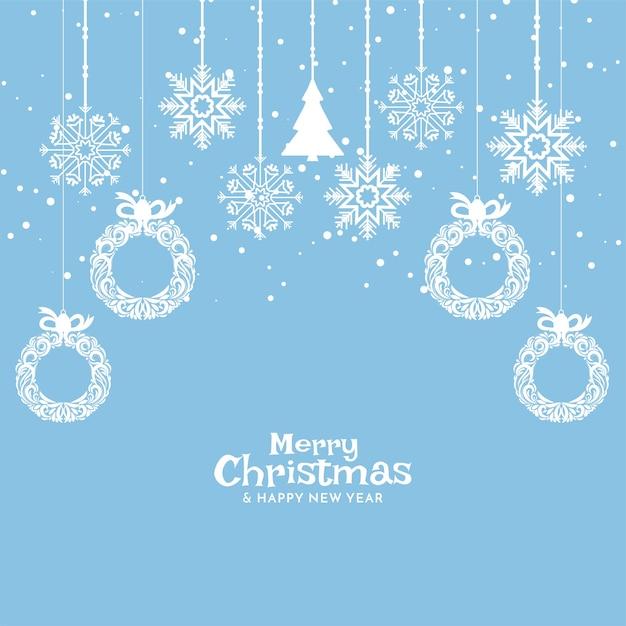 ソフトブルーメリークリスマスのお祝いの背景デザイン 無料ベクター