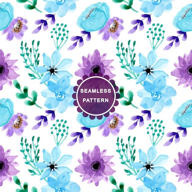 Soft blue purple watercolor seamless pattern Premium Vector