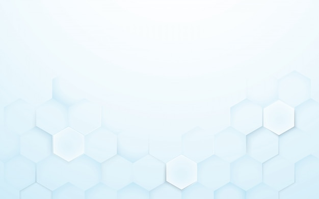 Soft blue and white 3d hexagons texture background Premium Vector