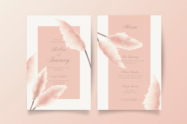 Soft blush свадебное приглашение и шаблон меню Бесплатные векторы