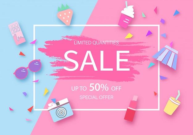 Soft color discount background Premium Vector